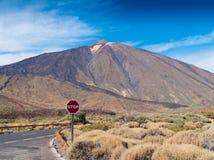 tenerife för teide för teckenspain stopp vulkan Arkivbild
