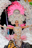 TENERIFE FEBRUARI 12: Karnevalet, vinkar till åskådare under t Arkivfoto