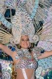 TENERIFE FEBRUARI 17: Karnevalgrupper och kostymerade tecken Arkivfoton