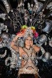 TENERIFE FEBRUARI 17: Karnevalgrupper och kostymerade tecken Royaltyfria Foton