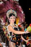 TENERIFE FEBRUARI 17: Karnevalgrupper och kostymerade tecken Arkivbilder