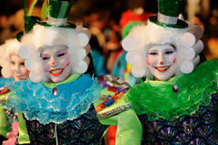 TENERIFE, FEBRUARY 17: Carnival groups and costumed characters Royalty Free Stock Photos
