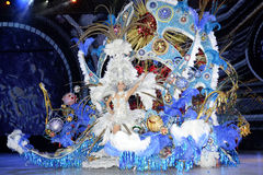 TENERIFE, FEBRUARY 11: Great choice for the Queen of Carnival. The candidates wear a very colourful dress. February 11, 2015, Tenerife (Canary Islands) Spain Stock Photography
