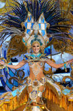 TENERIFE, FEBRUARY 11: Great choice for the Queen of Carnival. TENERIFE, FEBRUARY 11: The Carnival Queen, waves to onlookers during the opening parade. February Royalty Free Stock Photography