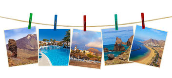 Tenerife island (Canary) photography on clothespins Royalty Free Stock Photo