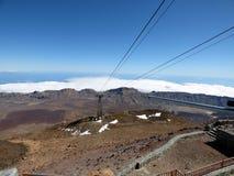 TENERIFE - JANUARI 28: Kabelwagen op de Teide-berg Foto op 28 Januari, 2018 op Onderstel Teide, Tenerife, Spanje wordt genomen da Royalty-vrije Stock Foto