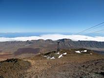 TENERIFE - JANUARI 28: Kabelwagen op de Teide-berg Foto op 28 Januari, 2018 op Onderstel Teide, Tenerife, Spanje wordt genomen da Stock Fotografie