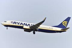 TENERIFE 17 JULI: Vliegtuig het opstijgen 17 juli, 2017, Tenerife kan Royalty-vrije Stock Foto