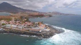 Tenerife, La Caleta, Spain - May 18, 2018: Aerial view rocky coast of Atlantic ocean, Canary islands. Tenerife, La Caleta, Spain - May 18, 2018: Aerial view stock video