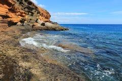 Costa Del Silencio. Tenerife landscape - Costa Del Silencio coastline. Punta Amarilla volcanic tuff rocks Stock Photo