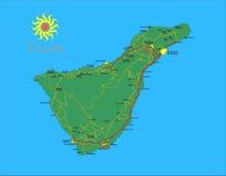 Tenerife map. Tenerife island map with cities and main roads Stock Photo