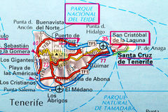 Tenerife map. The Island of Tenerife in detail on the map Royalty Free Stock Photos