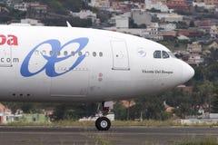 TENERIFE 1 MEI: Vliegtuig om op te stijgen 1 mei 2017, Tenerife Royalty-vrije Stock Afbeelding