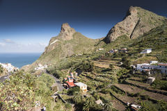 Tenerife mountains and houses Stock Photography
