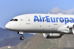 TENERIFE OCT 07: Plane to land. OCT 07, 2017, Tenerife Canary I Stock Photos