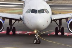 TENERIFE OCT 13: Plane to land. October 13, 2017, Tenerife Cana Royalty Free Stock Photography