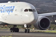 TENERIFE OCT 07: Plane to take off. Oct 07, 2017, Tenerife Canary Islands Spain. TENERIFE, SPAIN-OCT 07, 2017: Plane - Boeing 787-8 Dreamliner of Air Europa at Stock Photo