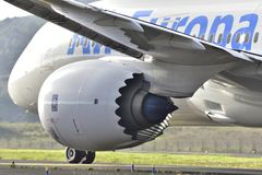 TENERIFE OCT 07: Samolot zdejmował Oct 07, 2017, Tenerife wyspy kanaryjska HISZPANIA Obraz Royalty Free