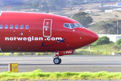 TENERIFE OCTOBER 26: Plane by taxiway, October 26, 2017, Tenerif Stock Photography