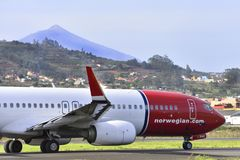 TENERIFE OCTOBER 26: Plane by taxiway, October 26, 2017, Tenerif Stock Images