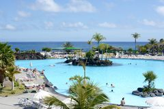Tenerife outdoor swimming pool stock photo