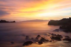 Tenerife - puesta del sol en Playa de La Arena, Los Gigantes Fotografía de archivo