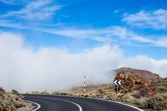 Tenerife road in the clouds view Royalty Free Stock Photos
