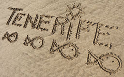 Tenerife, sand writing on the beach of El Papagayo Royalty Free Stock Photos