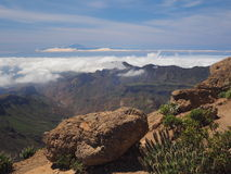 Tenerife seen from high  mountain next to Roque Nublo Royalty Free Stock Photo
