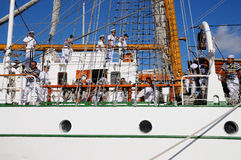 TENERIFE, SEPTEMBER 13: Mexican school ship docked at the Port o Royalty Free Stock Photo