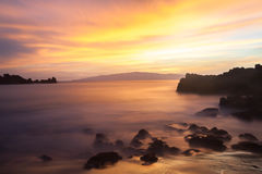 Tenerife - solnedgång på Playa de La Arena, Los Gigantes arkivbild