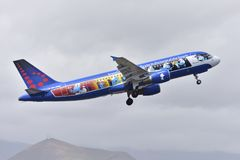 TENERIFE APRIL 10: plane taking off, with the Smurfs, April 10, Royalty Free Stock Image