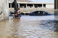 TENERIFE, SPAIN - AUGUST 29: Flooding. Due to high tide that flooded in heavy seas, the whole neighborhood of San Andres. August 29, 2011 in San Andres Stock Photos