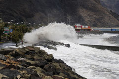 TENERIFE, SPAIN - AUGUST 29: Flooding. Due to high tide that flooded in heavy seas, the whole neighborhood of San Andres. August 29, 2011 in San Andres Royalty Free Stock Photography