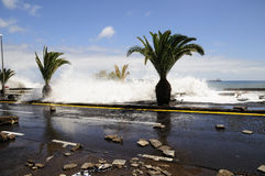 TENERIFE, SPAIN - AUGUST 29: Flooding. Due to high tide that flooded in heavy seas, the whole neighborhood of San Andres. August 29, 2011 in San Andres Stock Photo