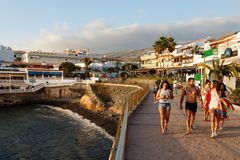 Spanish tourists in Tenerife Royalty Free Stock Image