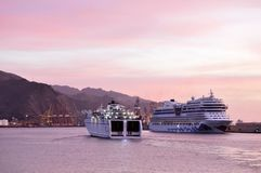 Modern cruise ships Tenerife Canary Islands stock images