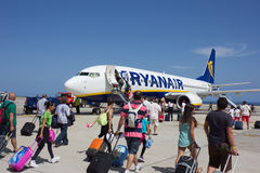 TENERIFE, SPAIN - JULY 16, 2014: Passеngers boarding Ryanair fl Royalty Free Stock Image
