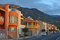 Modern street with houses Tenerife Canary Islands royalty free stock images