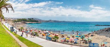 TENERIFE, SPAIN - SEPTEMBER 4, 2016: Panoramic view of Los Crist. Ianos Beach. Tenerife is a major sea destination in Europe Royalty Free Stock Images