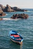 Tenerife, Spain-summer 2015: empty fisher boat in ocean Stock Photos