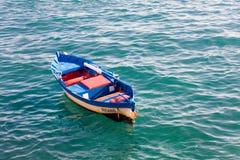 Tenerife, Spain-summer 2015: empty fisher boat in ocean Royalty Free Stock Image