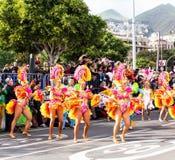 TENERIFE, SPANJE - BRENG 4 IN DE WAR: In beroemd Carnaval Santa Cruz de Tenerife, de karakters en de groepen aan het ritme van stock fotografie