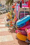 Tenerife Stret shop. View of footpath with beach accessories in Los Gigantes (spain Royalty Free Stock Image