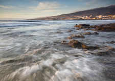 Tenerife sunset at seashore. Sunset in one of Tenerife`s coasts in Las Americas royalty free stock photos