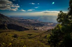 Tenerife - a view from a mountain. Adeje. Sea and the sky royalty free stock photography