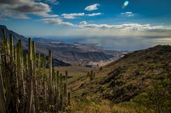 Tenerife - a view from a mountain. Sea, sky royalty free stock image