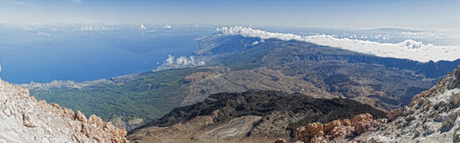 Tenerife. View from vulcano Teide over the entire island Royalty Free Stock Image
