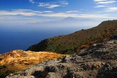 Tenerife visto de Gomera Fotos de Stock Royalty Free