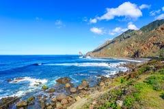 Tenerife, wyspy kanaryjska Hiszpania, Benijo, - plaża widzieć od Roque de zdjęcia royalty free